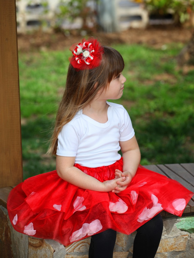 Güllü Tül Çocuk Etek Modeli